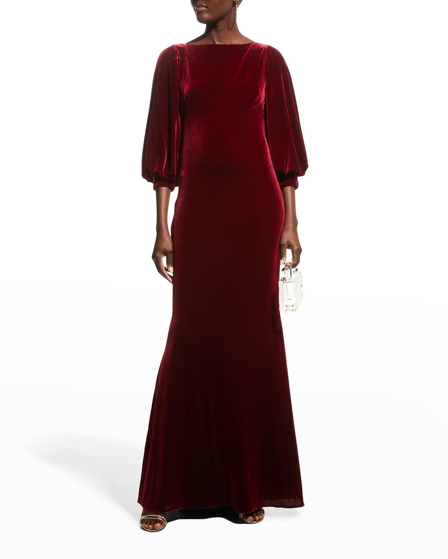 Full-Sleeve Velvet Column Gown