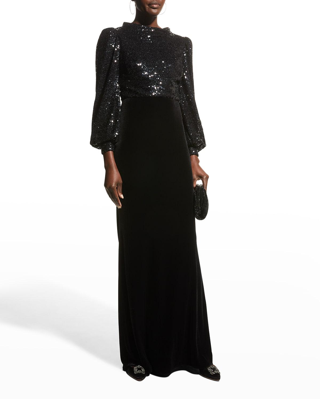 Full-Sleeve Sequin-Bodice Velvet Gown