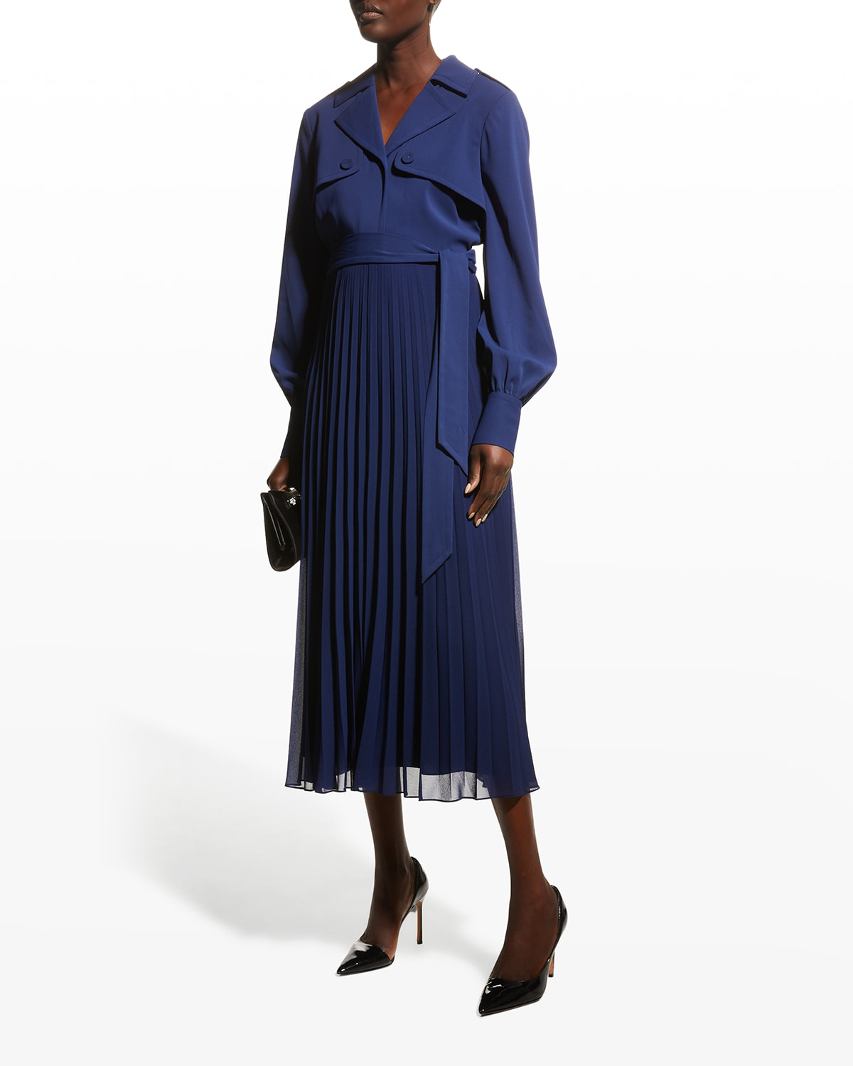 Trench Dress w/ Pleated Skirt