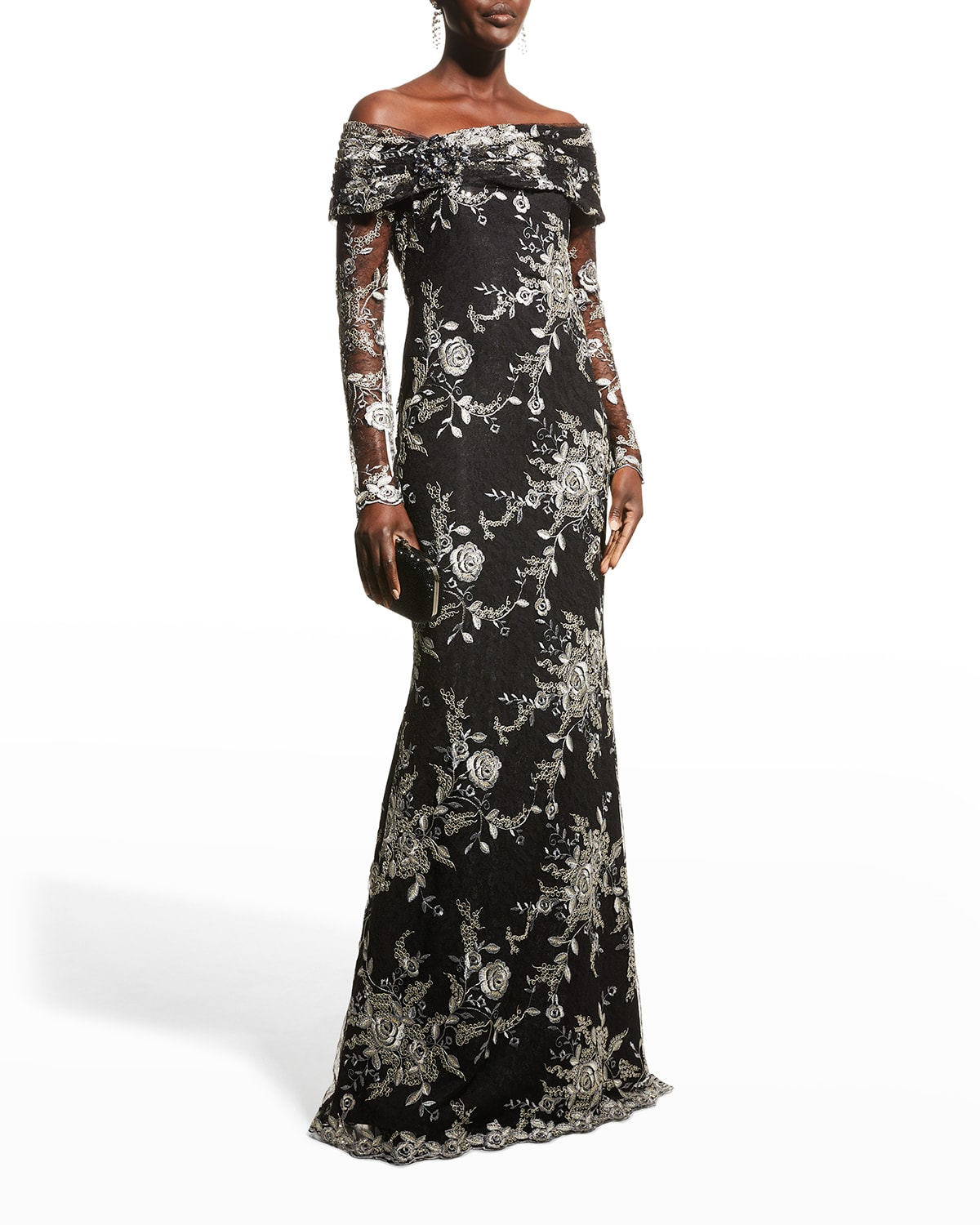 Metallic Embroidered Off-the-Shoulder Gown