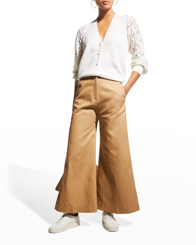 Beth V-Neck Lace-Sleeve Cardigan