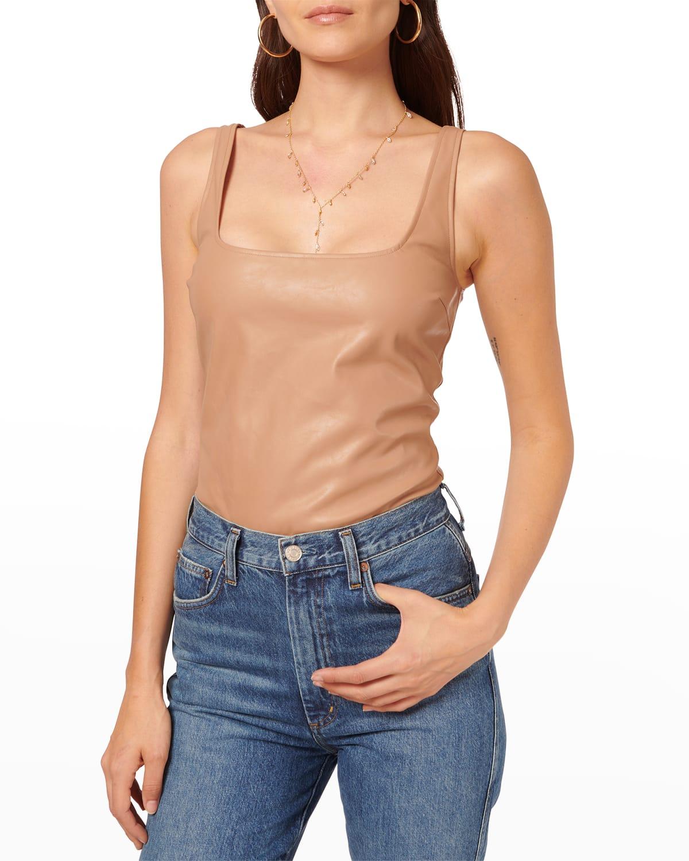 April Vegan Leather Bodysuit