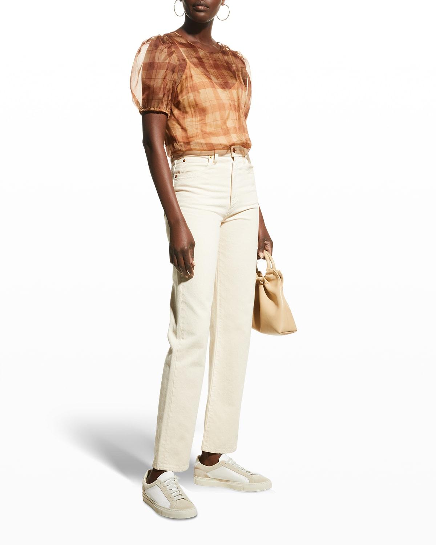 Bethany Puff-Sleeve Organza Bodysuit