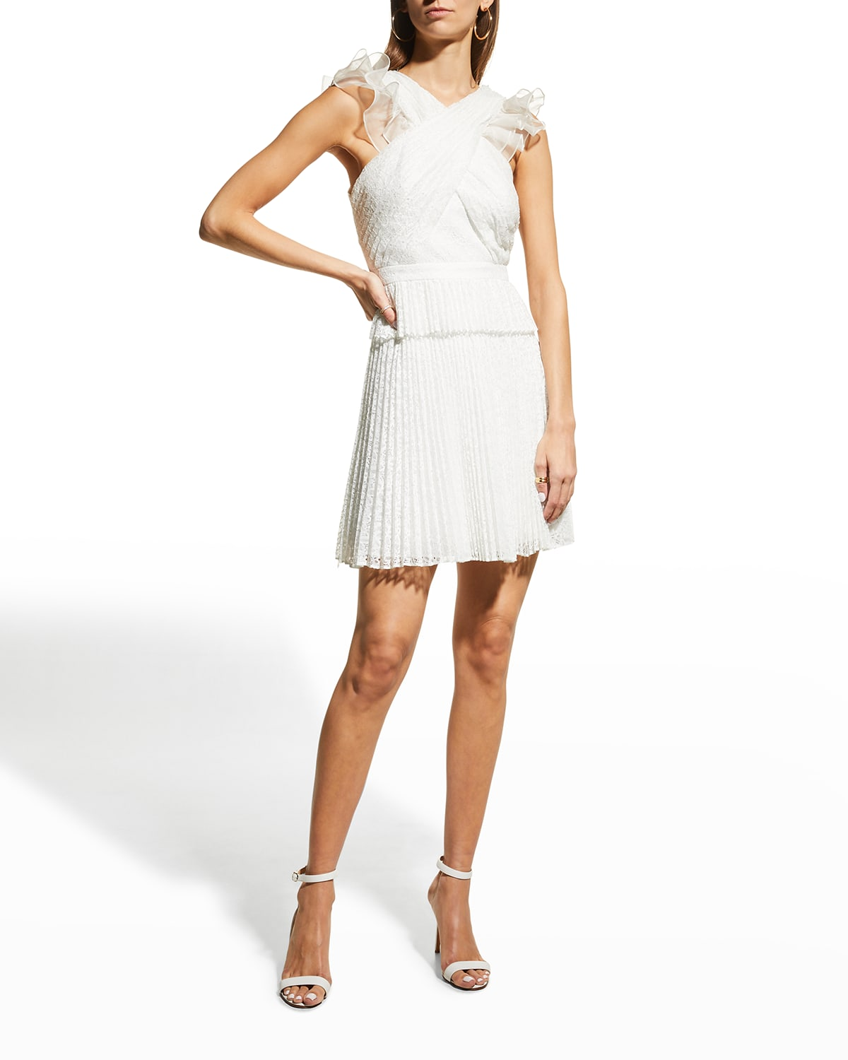 Theia Brielle Pleated Lace Cocktail Dress
