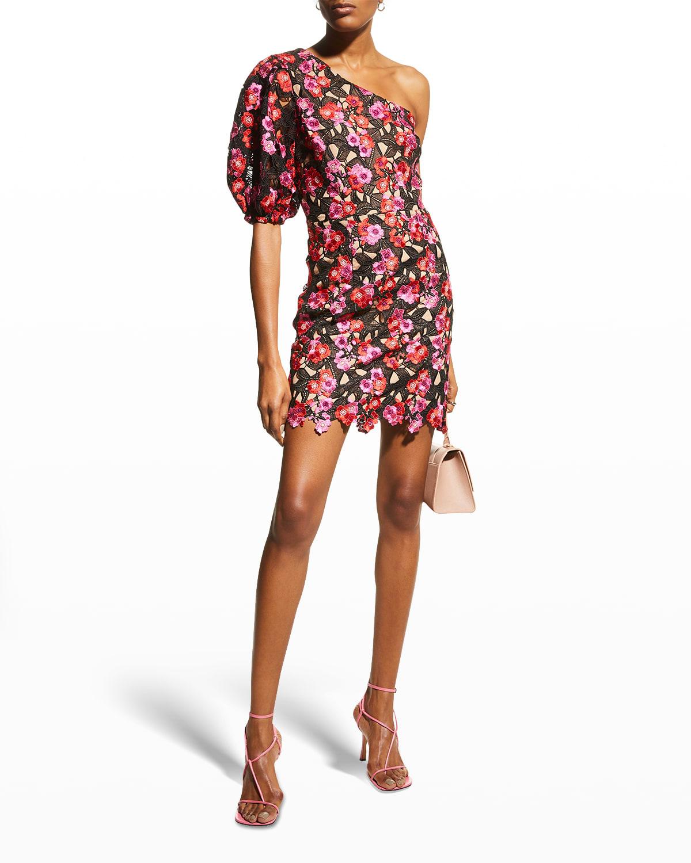 Gabriella Floral One-Shoulder Mini Dress