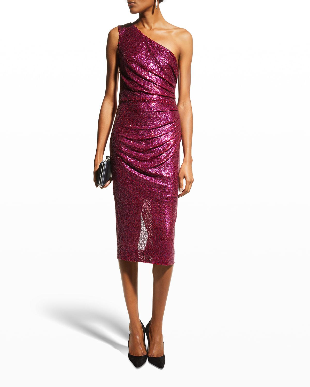 Martine One-Shoulder Ruched Sequin Dress