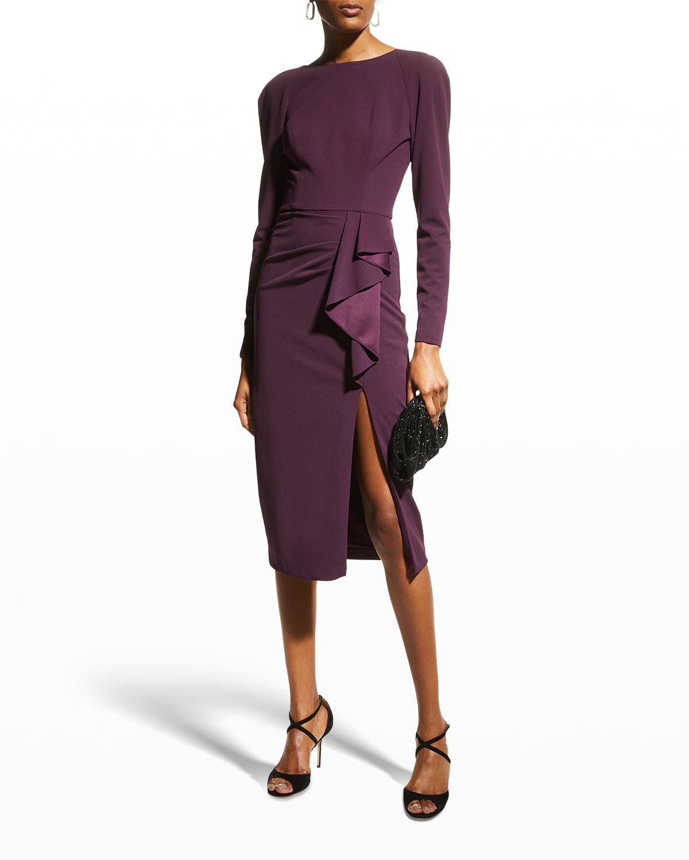 Micah Long-Sleeve Slit-Front Dress