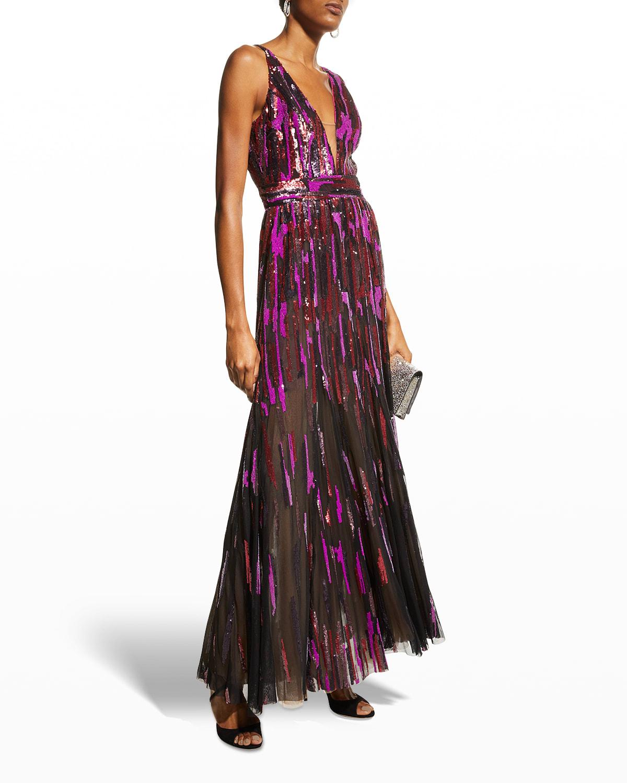 Samira V-Neck Sequin Gown