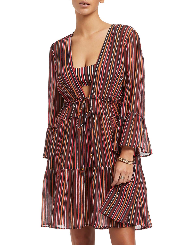 Bedouin Stripe Short Coverup Dress