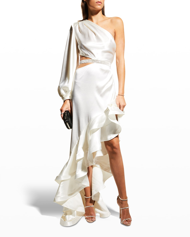 Monica One-Sleeve Asymmetric Ruffle Gown