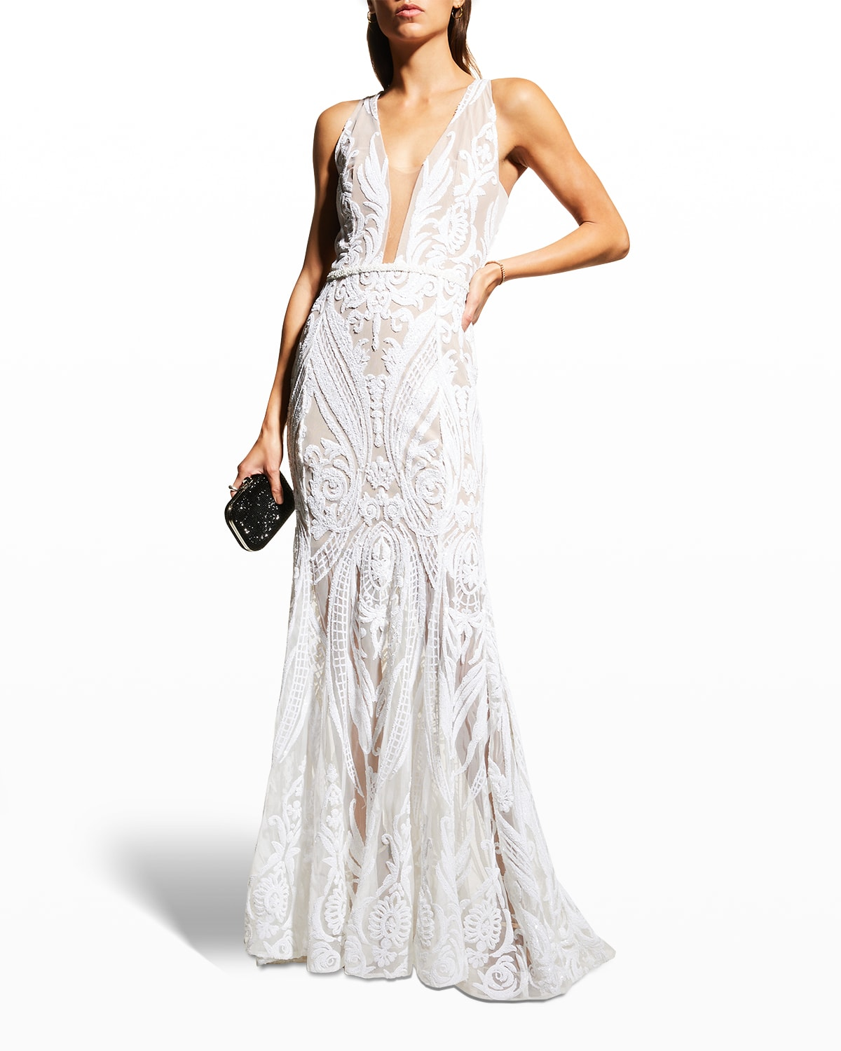 Ester Graphic Sequin-Embellished Gown
