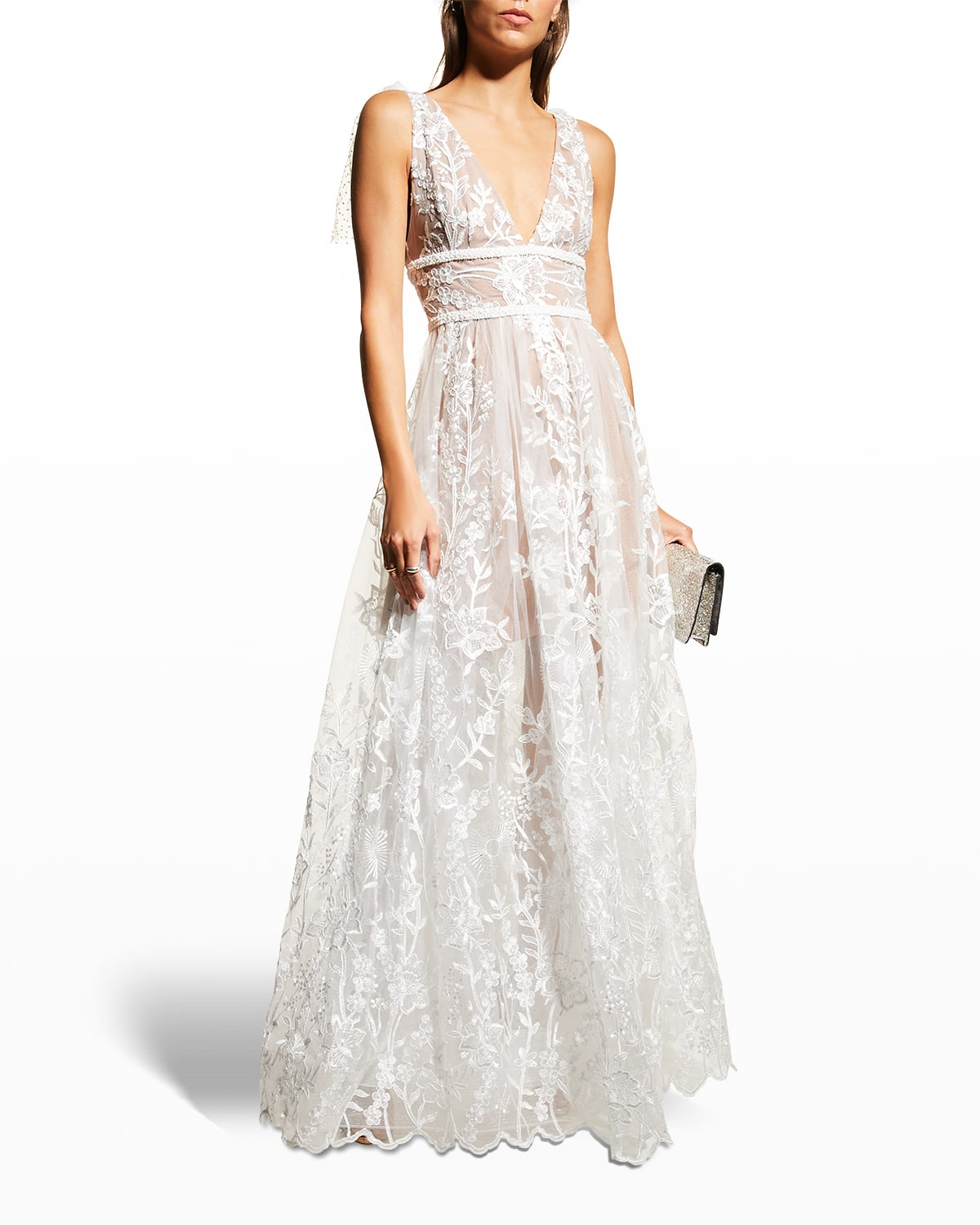Tunisia V-Neck Floral-Embroidered Gown