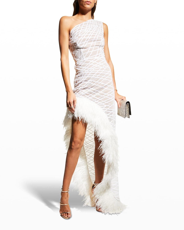 Lola Asymmetric Feather Gown