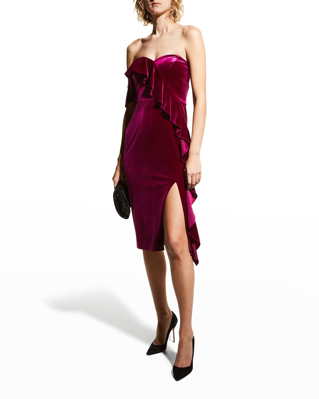 Asymmetric Ruffle-Trim Velvet Dress