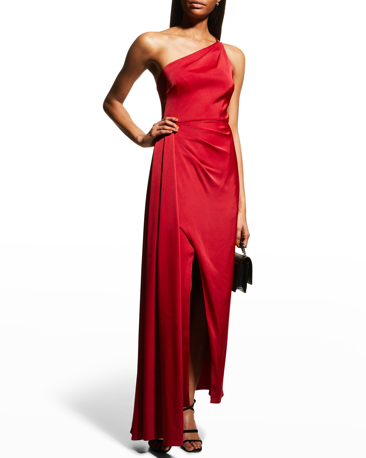 One-Shoulder Side-Draped Gown