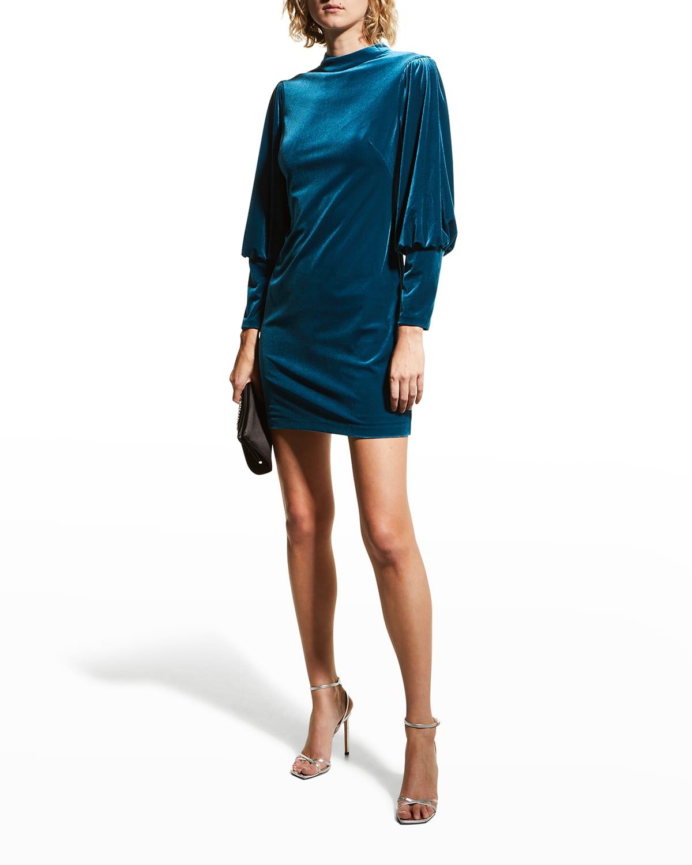 Mock-Neck Velvet Mini Dress