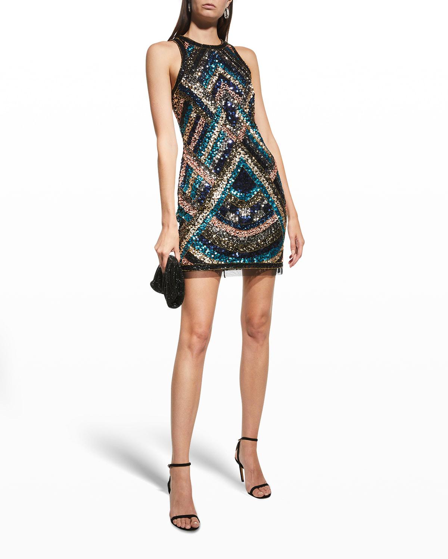 Geometric Sequin Mini Halter Dress