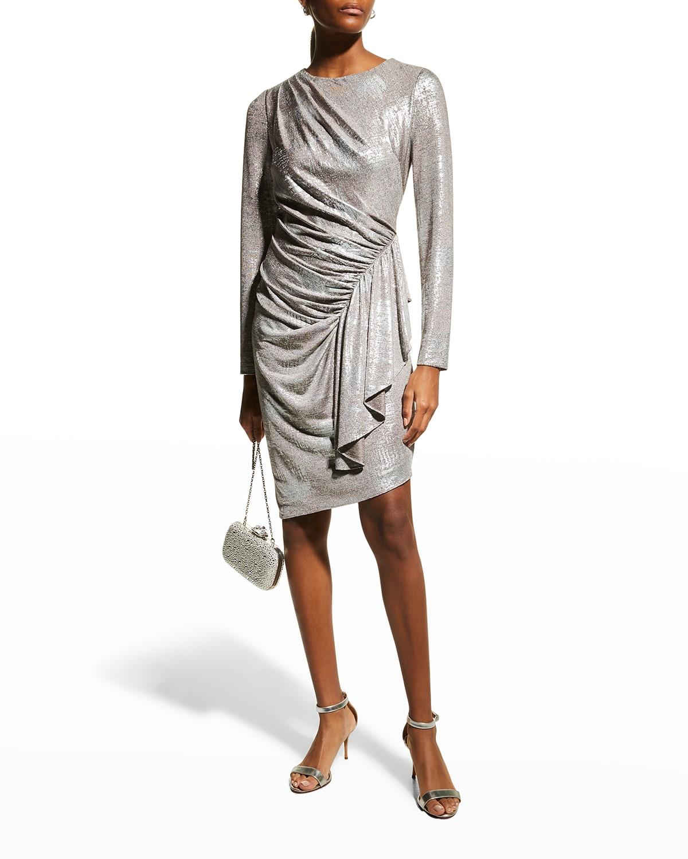 Long-Sleeve Side-Draped Foil Dress
