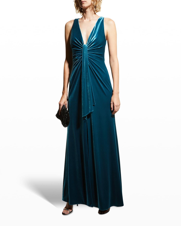 Deep V-Neck Sleeveless Velvet Gown