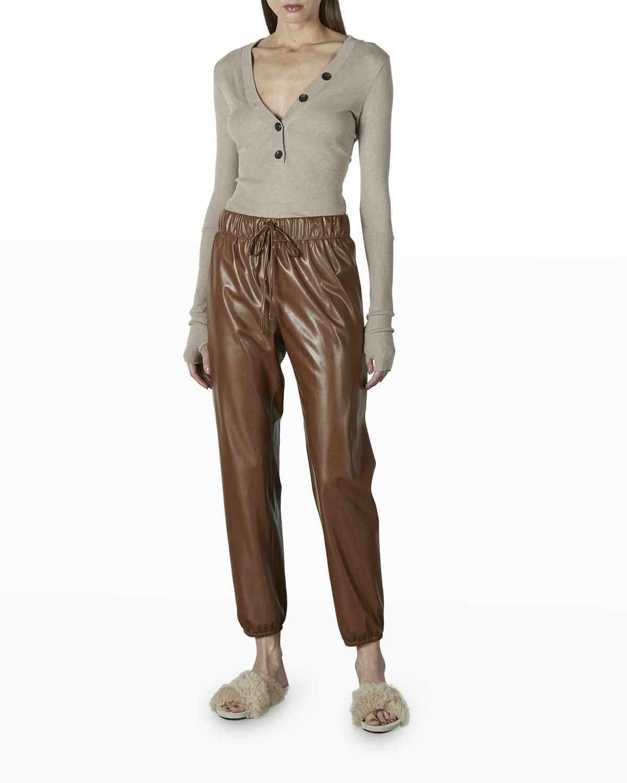 Long-Sleeve Cashmere-Blend Henley Top