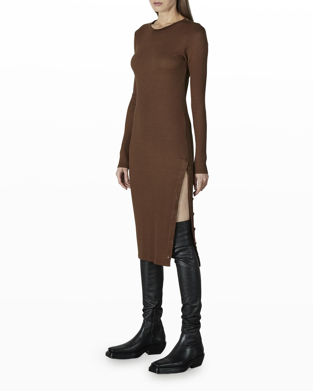 Crewneck Viscose Rib Button Midi Dress