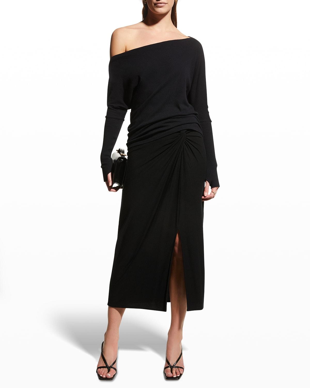 One-Shoulder Cashmere-Cotton Top
