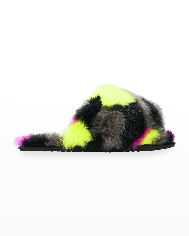 Go Mail Run Multicolored Faux Fur Slipper