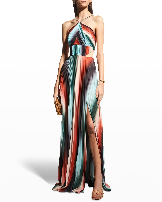 Janet Stripe Maxi Halter Dress