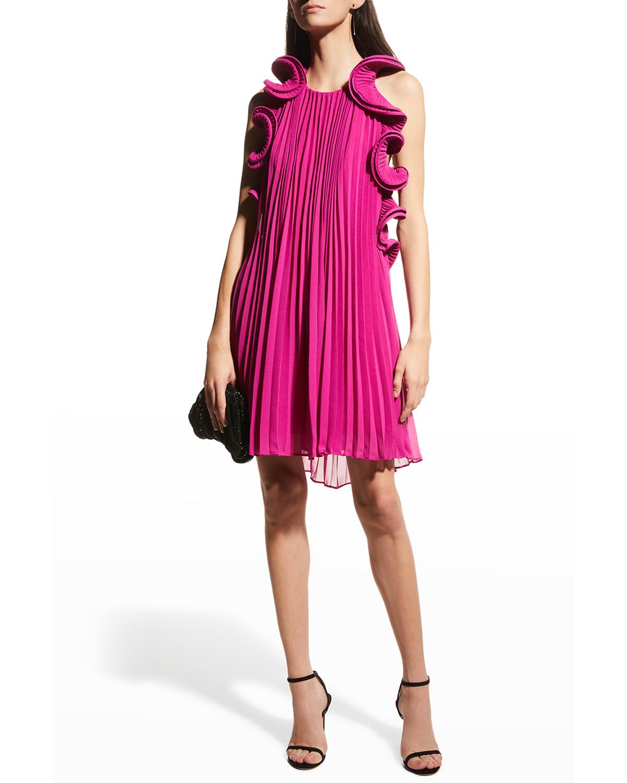 Mimi Pleated Open-Back Mini Dress