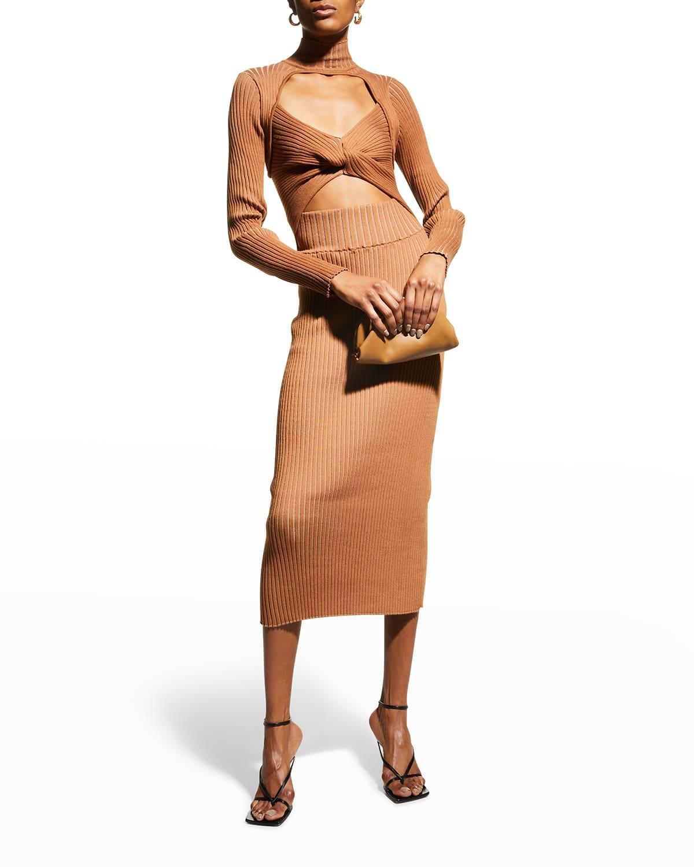 Merino Wool Twist-Front Cutout Dress