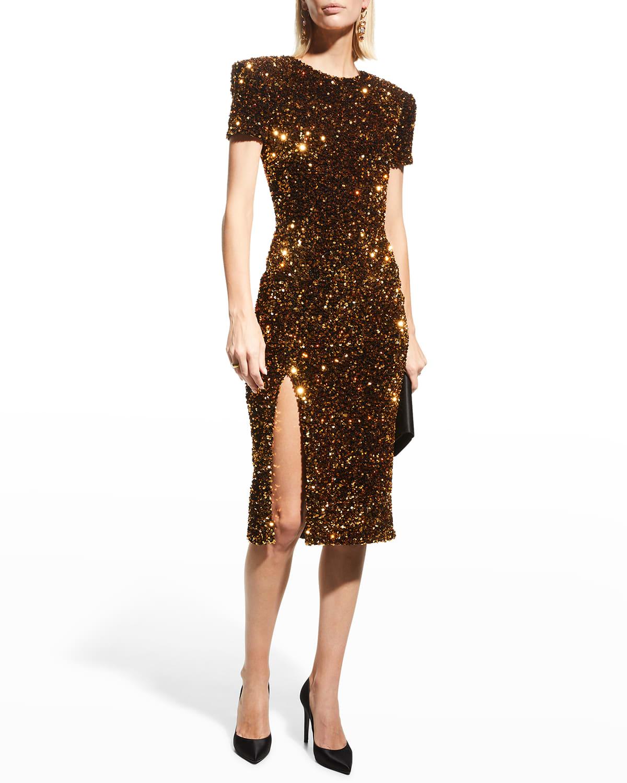 Yanira Sequin Velvet Midi Dress