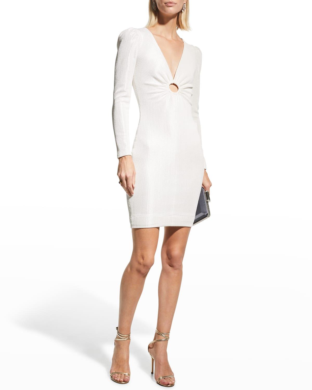Mel Rib-Knit Textured Keyhole Dress