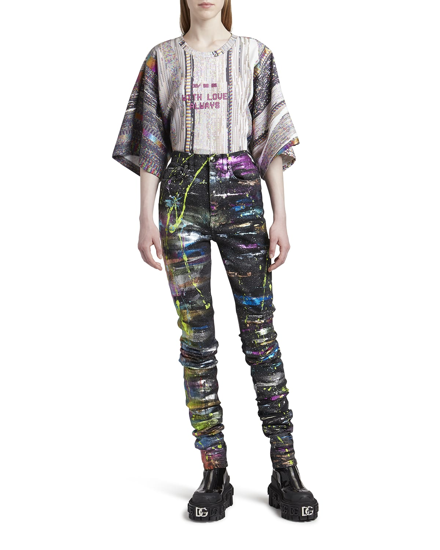 Metallic Paint Splatter Ruched Jeans