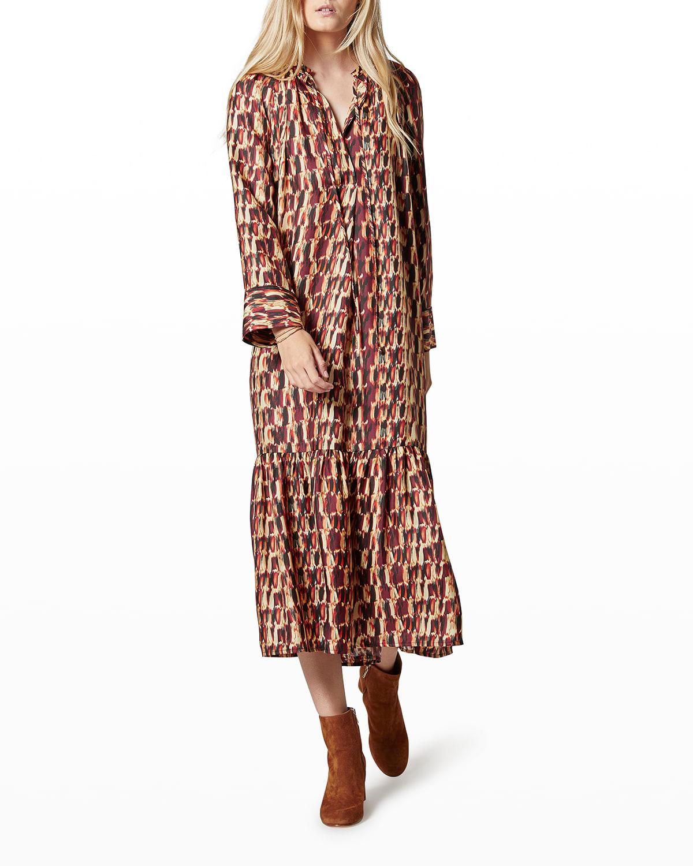 Ritner Long-Sleeve Silk Dress