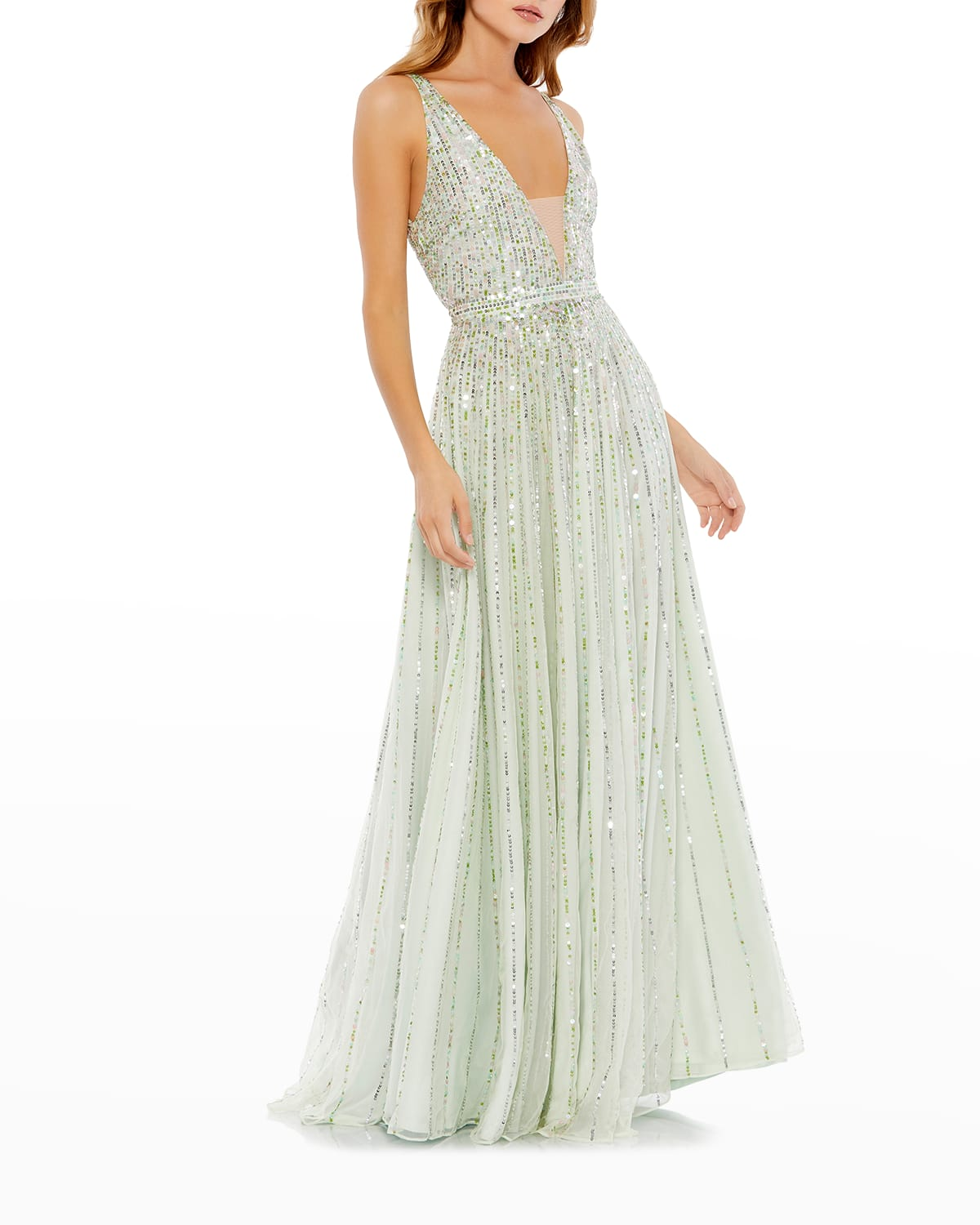 Plunging Sequin A-Line Gown
