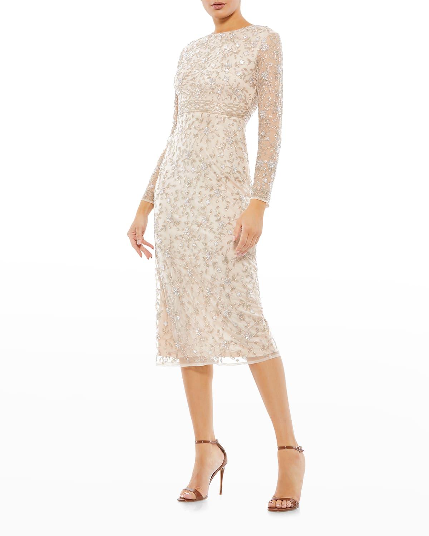 Beaded Long-Sleeve Midi Sheath Dress