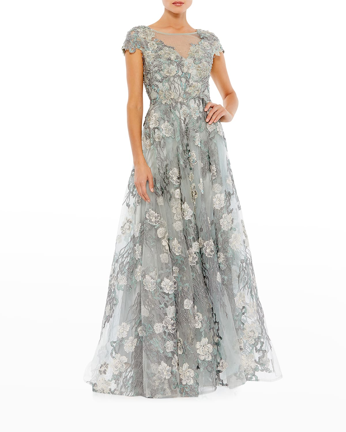 Floral-Embroidered Lace Cap-Sleeve Gown