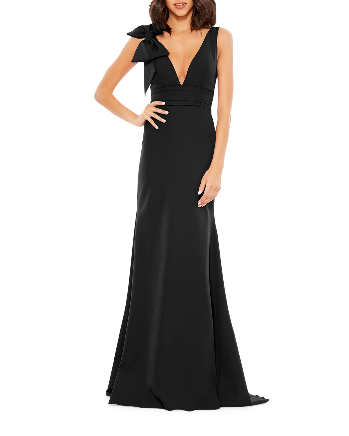 Sleeveless Empire Gown w/ Bow
