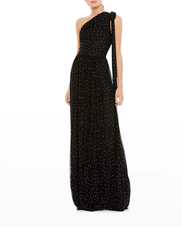 One-Shoulder Gem-Embellished Gown