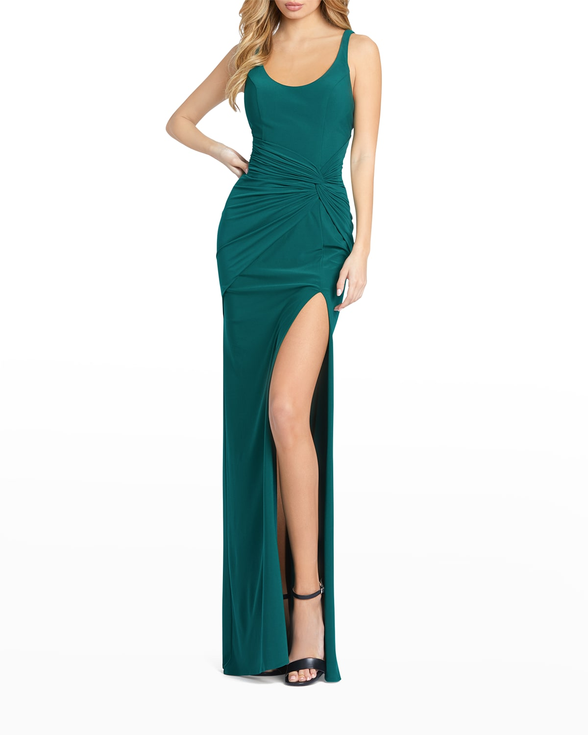 Scoop-Neck Thigh-Slit Wrap Gown