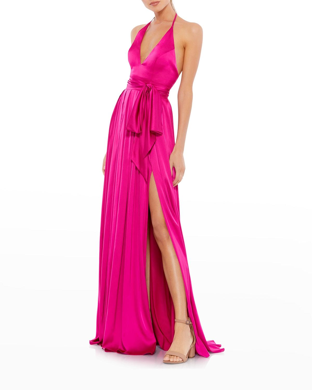 Thigh-Slit Satin Halter Gown