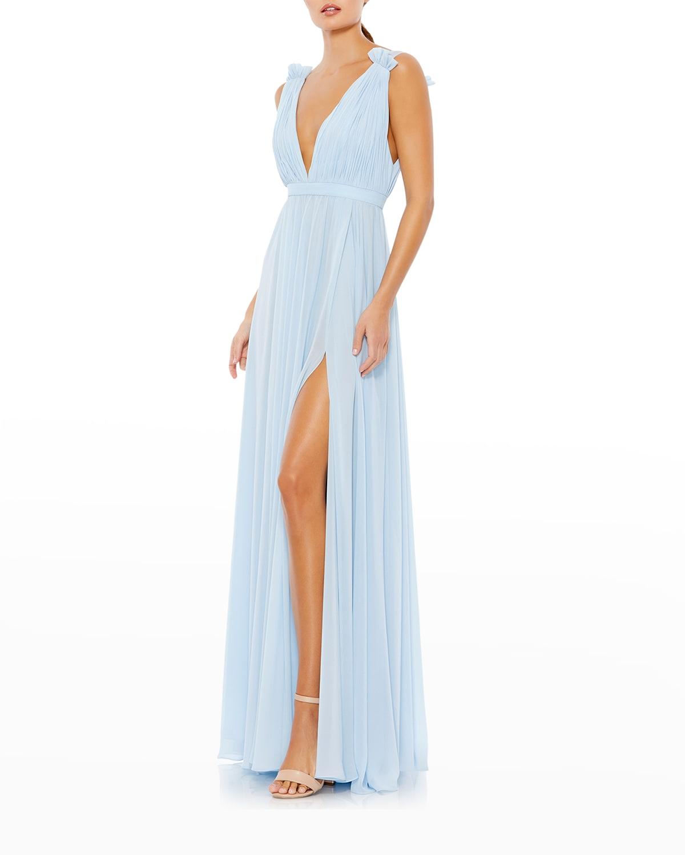 V-Neck Grecian Chiffon Gown