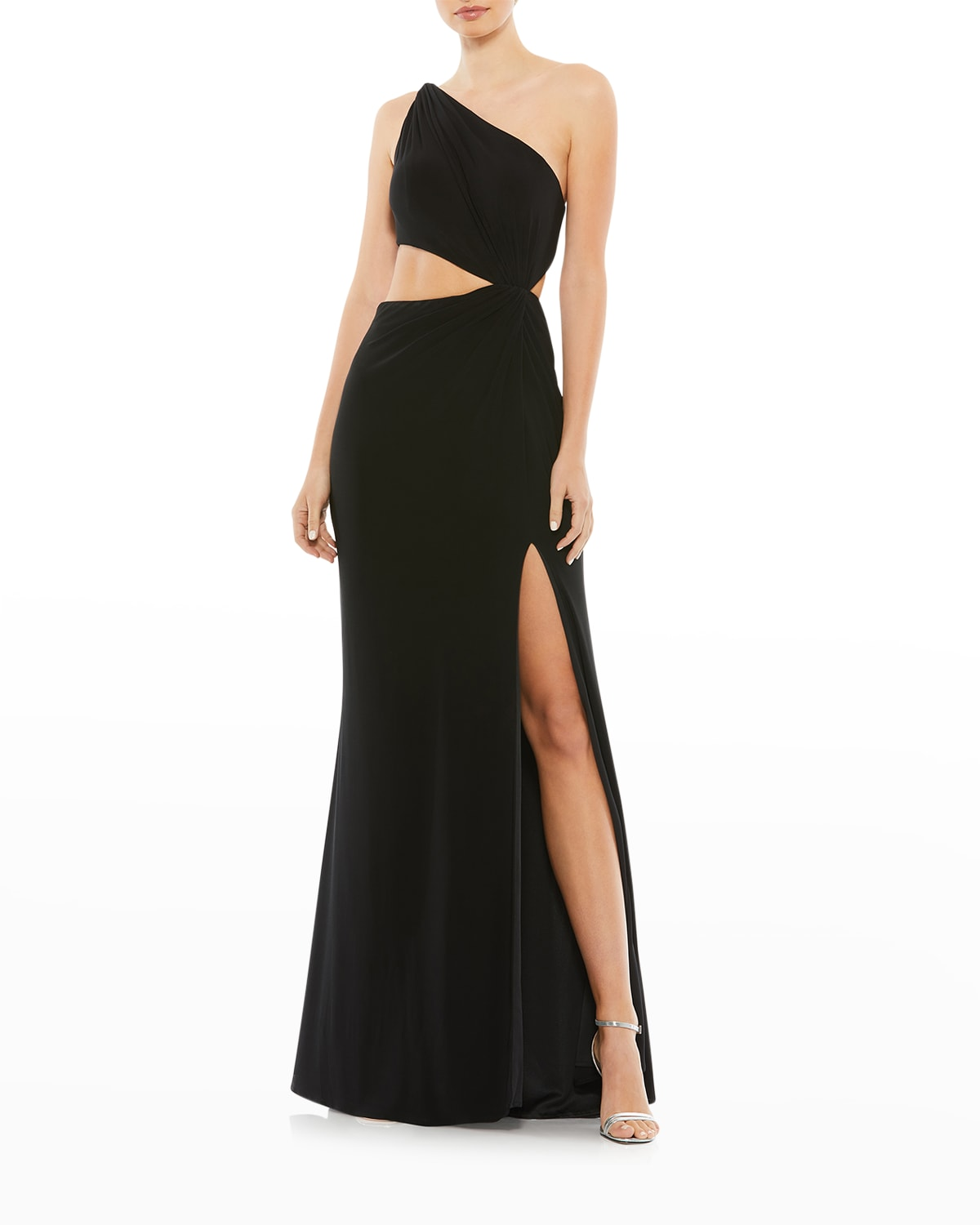 One-Shoulder Jersey Cutout Gown