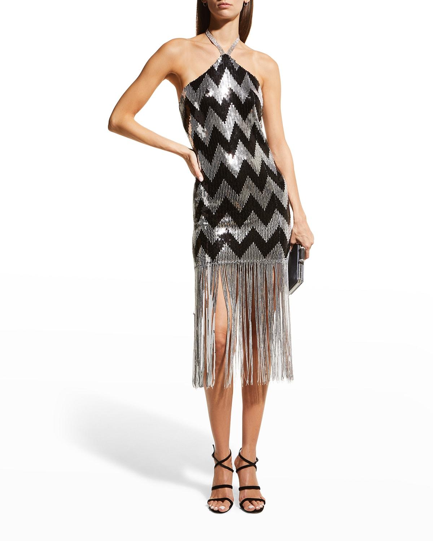 Gatsby Sequin Chevron Fringe-Hem Halter Dress
