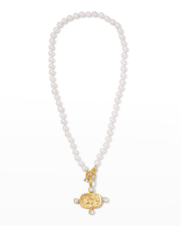 Pearl Toggle Chariot Cast Intaglio Necklace