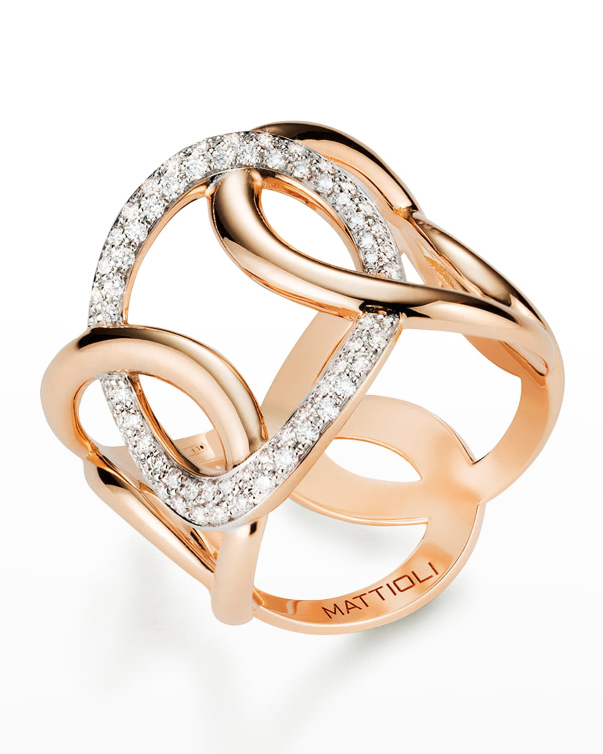 18K Rose Gold Hiroko Ring with Diamond Oval
