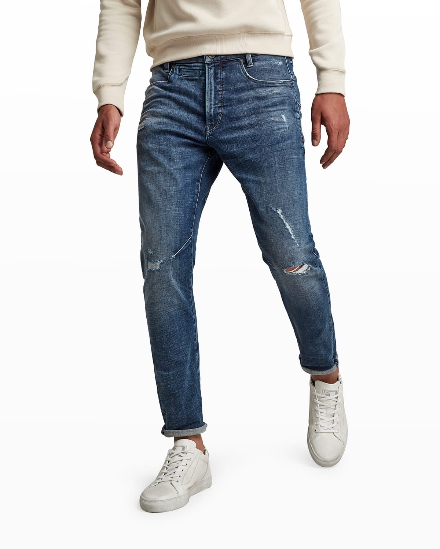 Men's D-Staq 3D Slim Distressed Jeans