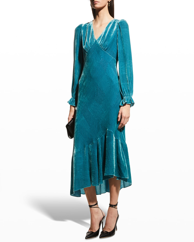 Manal Two Burnout Velvet Midi Dress