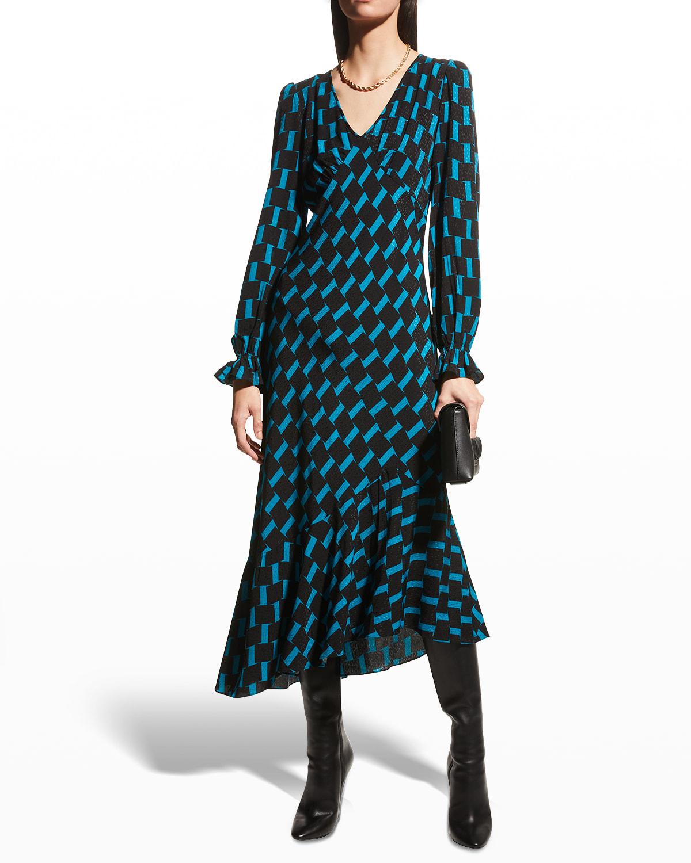 Manal Geo-Print Midi Dress