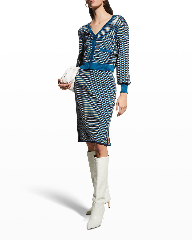 Beatrix Cube-Print Knit Skirt